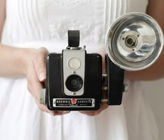 Kodak Hawkeye Camera  by Smile Mercantile. We always had fun squeezing the flash bulb after the pic. was taken.