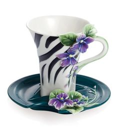 Zebra Print Cup and Saucer