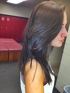 Brunette hair color and cut