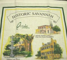 Historic #Savannah #Georgia Linen Kitchen Hand Tea Towel Wall Hanging Souvenir