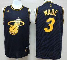 Miami Heat #3 Dwyane Wade Revolution 30 Swingman 2014 Black With Gold Jersey