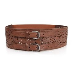 BMC Womens Double Buckle Style Thick Wide Elastic Brown Cut Out Faux Leather High Waist Fashion Belt b.m.c http://www.amazon.com/dp/B00JW2A8I6/ref=cm_sw_r_pi_dp_nW5Hub0SYCATK
