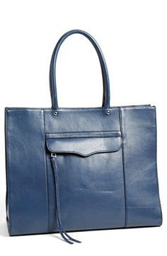 Rebecca Minkoff tote in navy or orange. Seen it in person, and this is like the perfect leather tote.