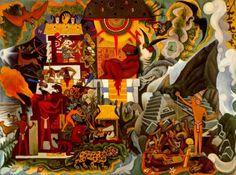 Diego Rivera, 'América prehispánica', 1950, óleo sobre lienzo, 70 x 92 cm. Colección Licio Lagos, México / arte, pintura, mexican art, latin art