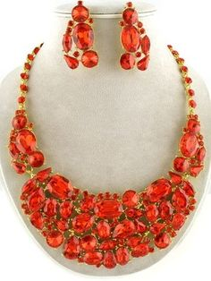 59.99$ WHOLESALE FASHION JEWELRY LOT 2 NECKLACES EARRINGS SET GOLD SIAM RED CRYSTAL
