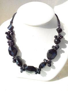 Black beaded necklace by CarleySmithhandmade on Etsy