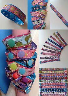 Kunterbunte Armbänder aus Web- und Schrägband