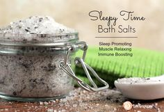 """""""Sleepy Time Bath Salts"""" formula. It's not complicated, just simple ingredients that come together to create the ultimate calming, immune-boosting bath. I love this bath formula so much, I've even made a few jars to give away to family members."""