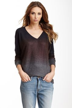 """V-Neck Sweater in charcoal top copper dip dye by Go Couture $148 - $29 @HauteLook. - Long dolman sleeves - 27"""" length - Made in USA. Model's stats: - Height: 5'8.5"""" - Bust: 34"""" - Waist: 24"""" - Hips: 34"""" Model is wearing size S. Dry clean. 47% rayon, 47% polyester, 6% spandex."""