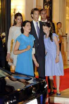 Princess Caroline of Hanover with her children: Andrea, Pierre and Charlotte Casiraghi and HRH Princess Alexandra of Hanover