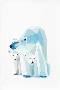 Geometric illustration Polar bear and cubs by tinykiwiprints