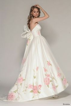 "Eugenia Couture Fall 2016 Bridal | Wedding Inspirasi | ""Rosalia"" -- Beautiful & Unique Hand Painted Floral High Low Bridal Ball Gown Showcasing A Strapless, Sweetheart Neckline, Fitted Bodice, Abstract Oversized Bow/Bustle Detail Back, Silk Tulle Overlay Entire Gown, Sweep Train......................................................"