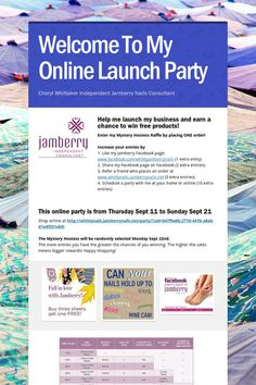 Welcome To My Online Launch Party  Let me mentor you in the world of Home Party sales with Jamberry! A great business opportunity to make some money or lots of money, new friends, great product and tons of fun! http://www.debbiebrown.jamberrynails.net