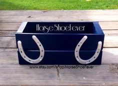 ©  $19.99 Navy Blue & Silver Horseshoe Crate Box. By HorseShoeFever. Horses, Pony, Livestock, Farm, Gifts, Rustic, Ranch, Rodeo, Country Christmas, Western, Birthday, Nursery, Baby, Present, Beef, Cattle, Cowboy, Cowgirl, Modern