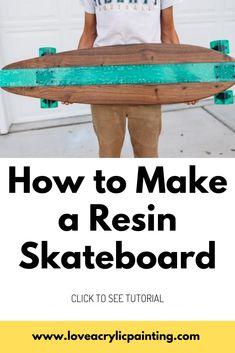 Epoxy Resin Wood, Diy Epoxy, Make A Skateboard, Long Skateboards, Longboard Design, Skate Decks, Skate Style, Diy Pallet Furniture, Resin Crafts