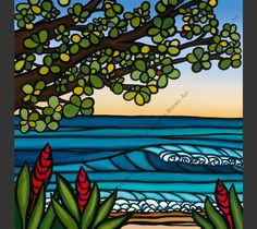 The tropical flowers of Hawaii and rolling waves at sunset by surf artist Heather Brown