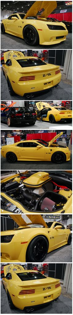 Yellow Camaro with Z/TA Trans Am Body Package at the 2012 SEMA Show #knfilters