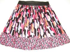 KENSIE PRETTY womens Short Colorful skirt elastic waistband Adorable Size 8 #KenziePretty #FullSkirt