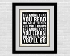 Dr Seuss Subway art print - 8 x 10 poster - The more you read - Baby nursery Decor - Inspirational Quote Typography Art on Etsy, $10.72 CAD