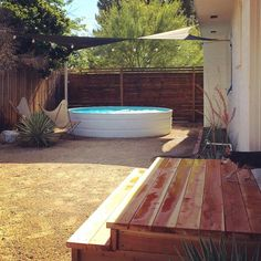 Stock tank pool and redwood deck., pool backyard Stock tank pool and redwood deck Stock Pools, Stock Tank Pool, Country Backyards, Outdoor Tub, Outdoor Spaces, Cheap Pool, Hot Tub Cover, Outside Living, Outdoor Living