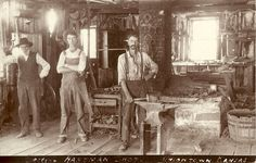Photo taken in 1910 - From Left to Right: John Hartman (my grand father's great grandfather), John Hartman Jr. (my grand father's uncle) and Franklin Hartman (my Great Great Grandfather).  Family blacksmith shop, Union Town, Kansas.  The original photo hung in my grandfather's workshop, and today hangs in my workshop.