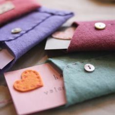 Make your own Valentines envelopes and cards from felt
