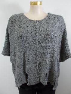 651975c94d3 B K moda - Grey Raw Knit 3 4 Drop Shoulder Cutwork Sweater