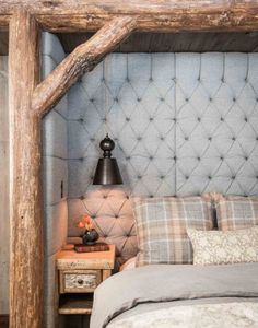 country bedrooms - fabric-upholstered bed niche framed by hickory timbers - Pearson Design Group via Atticmag Log Home Bedroom, Master Bedroom, Wooden Bedroom, Cozy Bedroom, Bedroom Wall, Bed Nook, Cozy Nook, Home Goods Decor, Home Decor