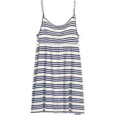 H&M Striped jersey dress ($13) ❤ liked on Polyvore featuring dresses, cut-out dresses, white cutout dresses, stripe dresses, h&m dresses and white cut-out dresses