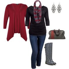 """plus size outfit"" by penny-martin on Polyvore. But get real on the boots. They won't fit MY calves! :-("