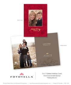 Holiday Blooms Collection 5x7 Folded Christmas Card Photoshop Template By Fotovella Feature Christmas Card Template Postcard Template Holiday Card Template
