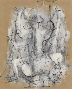 Untitled (Abstracted Figure) by Charles Alston, 14.5 X 12.5 in (36.83 X 31.75 cm), Gouache, pen and ink on buff, fibrous Japan paper, 1957