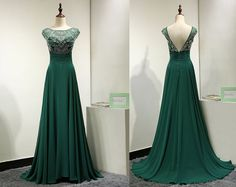 185 Emerald Green Chiffon Backless Evening Dress by MelissaLife89