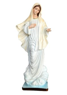 Our Lady of Medjugorje statue height 60 cm. in empty resin, hand painted with acrylic colors and trim with oil colors, available with glass eyes. Made in Italy