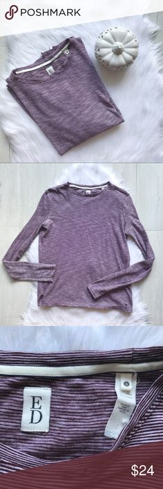"ED by Ellen Degeneres Striped Long Sleeve Tee Super soft long sleeve tee by ED by Ellen Degeneres. Striped t-shirt in maroon and white. Laying flat, bust measures 19.5"" and length is 25"". EUC from a smoke free home!  ⭐️no trades⭐️ ⭐️I'm open to offers and I ALWAYS send a counteroffer⭐️ ED by Ellen Degeneres Tops Tees - Long Sleeve"
