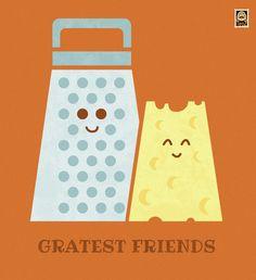 'Cheesy Friendship' Poster by Teo Zirinis Cheesy Puns, Cheesy Quotes, Singles Holidays, Holidays With Kids, Puns Jokes, Funny Puns, Friendship Puns, Goodbye Cards, Art Puns