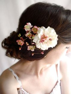 bridal flower hair clip ivory wedding hair by thehoneycomb on Etsy, $75.00