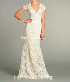 Vneck Lace Wedding Dress With Scalloped Edge Long by harsuccthing, $230.00