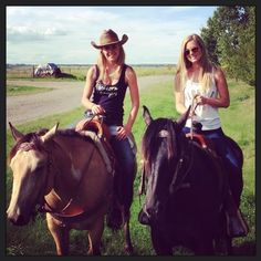 Amy & Ashley (Amber & Cindy) in real life riding together for the day.
