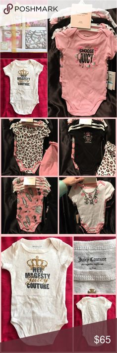 Juicy Couture Baby Lot ❣️NWT❣️5pcs onesie set, ❣️NWT❣️4pc matching box set including, cap, onesie, pants and socks, a gently used Juicy Couture onesie, and a ❣️NWT❣️(not Juicy) milestone set with 4 stickers, a crown head and with matching pink with white polka dot with gold crown socks. Perfect set for your lil Princess👑 Juicy Couture Matching Sets