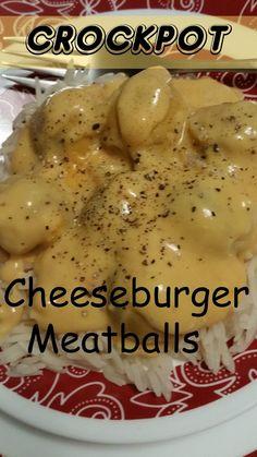 The Better Baker: Crockpot Cheeseburger Meatballs (Bake Meatballs Grape Jelly) Crock Pot Slow Cooker, Slow Cooker Recipes, Crockpot Recipes, Pork Recipes, Gourmet Recipes, Cooking Recipes, Healthy Recipes, Potluck Recipes