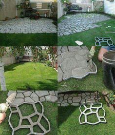 Neat Way To Make An Inexpensive Walkway Or Patio. I Wonder Where The Mold  Comes From. I Would Probably First Level The Ground.