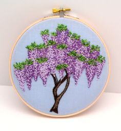 Wisteria Hand Embroidery, Hand Stitched Embroidery Hoop Art, Purple Lavender Flowers, Made to Order on Etsy, £94.38