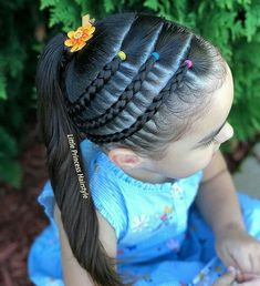 All of these hairstyles are fairly easy and are good for beginners, quick and simple toddler hair styles. Lil Girl Hairstyles, Kids Braided Hairstyles, Princess Hairstyles, Cool Hairstyles, Toddler Girls Hairstyles, Children Hairstyles, Fishtail Hairstyles, Braids For Kids, Girls Braids