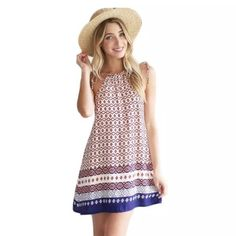 """❗️Final Price❗️🆕Boho Print Mini Dress **NEW** Boho print mini flare dress.  I can't tell you how cute this is!  Great as a swimsuit cover-up at the beach! 🌴☀️ One Size fits SMALL to LARGE.  Made of polyester/cotton blend.  Bust up to 36"""". Length averages 33"""" but straps can be adjusted for custom fit. ***NEW in package*** Boutique Dresses Mini"""
