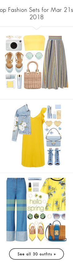 """""""Top Fashion Sets for Mar 21st, 2018"""" by polyvore ❤ liked on Polyvore featuring Salvatore Ferragamo, Boohoo, GUESS, Sunday Somewhere, Kodak, Maya Brenner Designs, Jennifer Meyer Jewelry, RMK, Estée Lauder and yellow"""