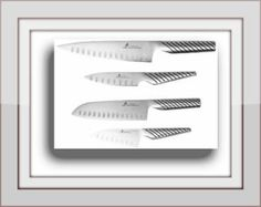 ZHEN Japanese Steel Chef's Knife and Santoku Knife Set These knives are made with Top grade Japanese High Carbon stainless steel. It includes: Chef knife. Santoku knife and its paring knife.