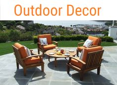 Outdoor decor ideas for your backyard, porch, deck, patio, lawn and fence.  Add some lighting too.  Cushions, furniture, firepits, outdoor kitchens...anything to turn your backyard into your own paradise.