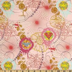 Girl Power Super Girls Pink Cotton fabric Female Super Hero Logo DC Comic fabric by the yard £6.45