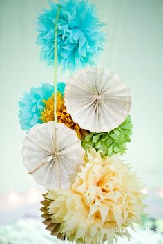 Pinwheels and tissue pom poms